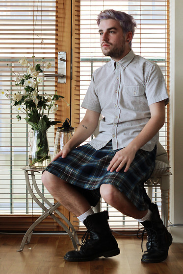 Dean Ryan McDaid - Oliver Spencer Stripped Shirt, Vivienne Westwood Kilt, Dr. Martens Boots - And, again.