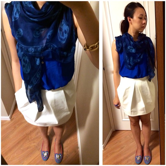 Rita C - Alexander Mcqueen Silk Scarf, H&M Blue Blouse - Can be better_082914