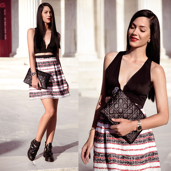 Konstantina Tzagaraki - Top, Dolce & Gabbana Skirt, Booties, Christian Dior Purse - It's better to burn out than to fade away..