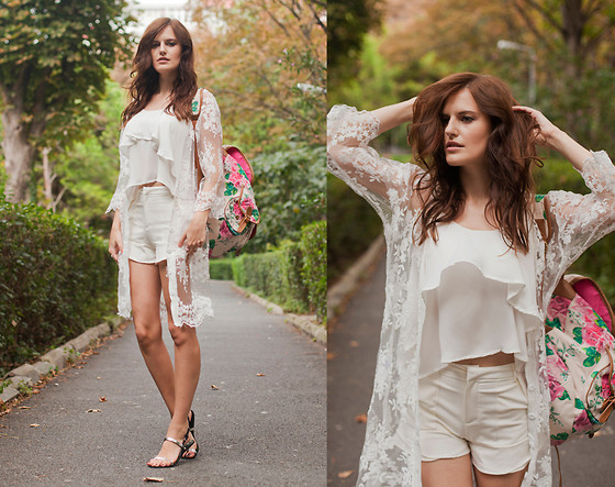 Viktoriya Sener - The Wildflower Shop Lace Cardigan, Sheinside Tank Top, Chic Wish Shorts, The Wildflower Shop Sandals, Accessorize Backpack - WILD FLOWER
