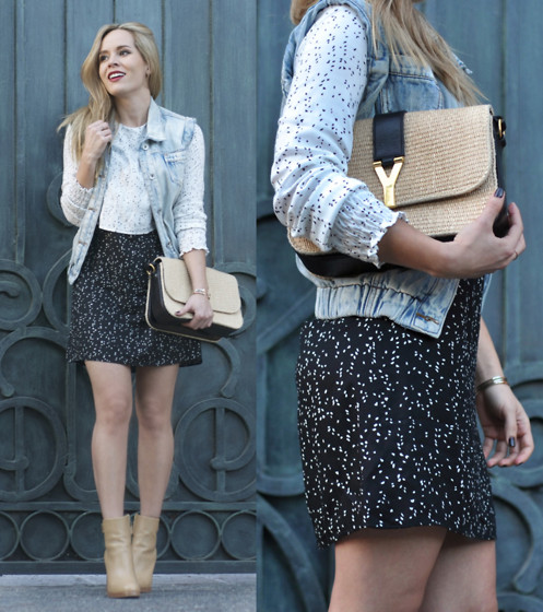 Cassandra De La Vega - Asos Vest, Saint Laurent Bag, Zara Dress - Beige 'n blue