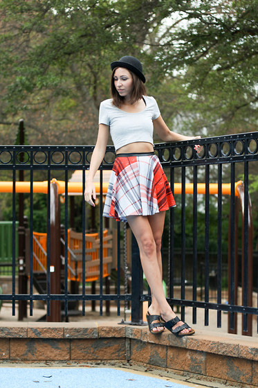 Laura H - Nasty Gal Skirt, Birkenstock Shoes - Playground pleats