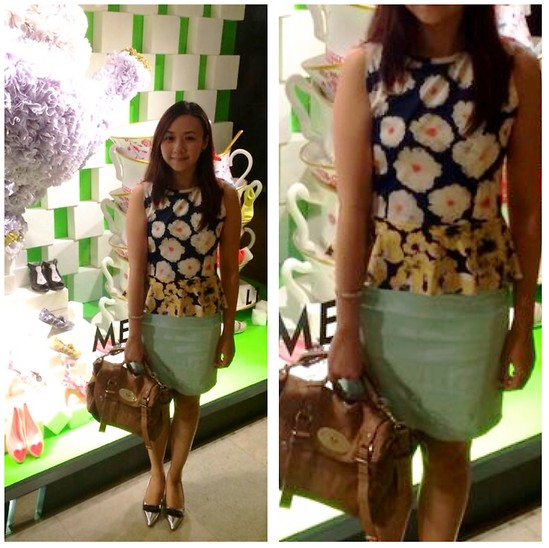 Rita C - Something Borrowed Floral Printed Peplum, Koumi Pointy Heels, H&M Mint Skirt - Passionate_090514
