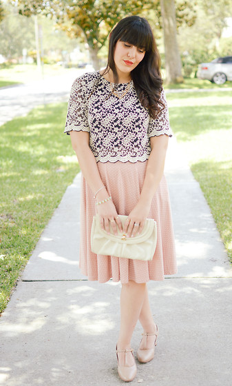 Carla Thompson - Forever 21 Crop Scalloped Lace Top, Modcloth Blush Polka Dot Dress - Pretty in Pink