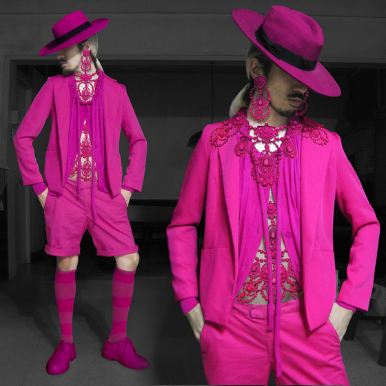 Andre Judd - Fuchsia Blazer, Wool Fedora, Lanvin Necklaces, Maison Martin Margiela Cardigan With Drawstring Neckline With Tubular Pull, Below The Knee Socks, Fuchsia Laceups - FUCHSION FASHION