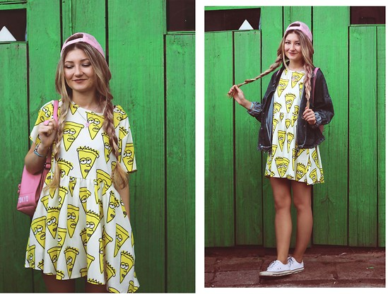 ♡Anita Kurkach♡ - Black Five Dress, Black Five Ring, Romwe Bagpack, Converse Shoes - Pizza Party!