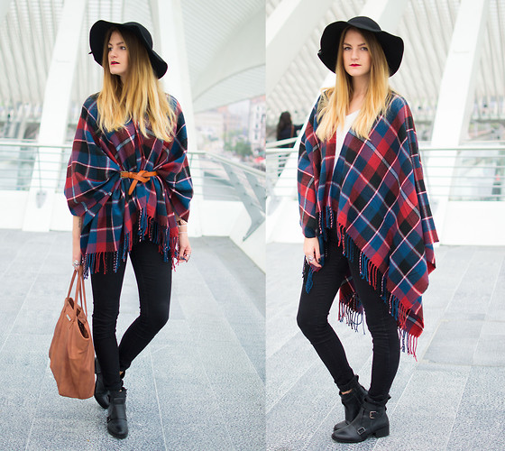 Catherine V. - Choies Hat, New Look Poncho, Skinny Jeans, Zara Leather Boots, Mango Bag, Asos Belt - Tartan poncho