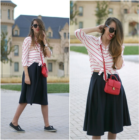 Talía Cardeña - Oasap Shirt, Choies Skirt, Pull & Bear Bag - Red stripes
