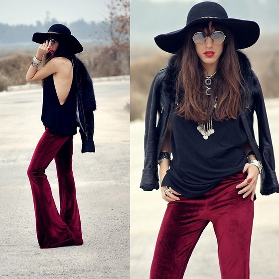 NILL N - Nill'in Midnight Burgundy Velvet Pants, Nill'in Free Black Top - Bold as love..
