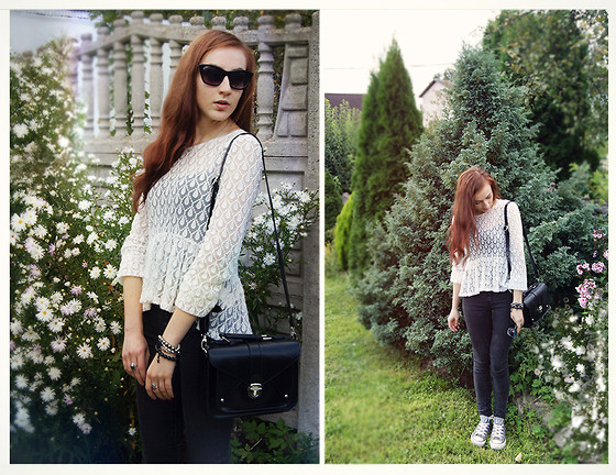 Marie M. - Mohito Sunglasses, New Yorker Bag, H&M Lace Blouse, Converse Grey, Pull & Bear Skinny Jeans - Victorian lace