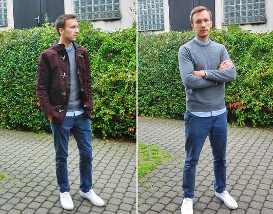 Sven A - H&M Dufflecoat, Pull & Bear Chinos, Cos Merino Jumper, H&M Band Collar Shirt, Superga Cotu Classic - Ready, Set, Autumn