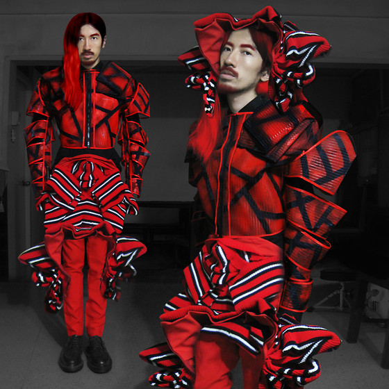 Andre Judd - Jaggy Glarino Crinoline Armor Jacket, Jaggy Glarino Striped Draped Knit Piece, Protacio Red Trousers, Raf Simons Black Laceups - PHOENIX
