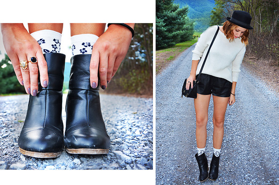 Jenny Fogus - Rue21 Black Ankle Boots, H&M Floral Socks, H&M Rhinestone Rings, Forever 21 White Knit Sweater, H&M Black Leather Shorts, Forever 21 Black & Gold Bag, H&M Top Hat - Autumn brought you to me