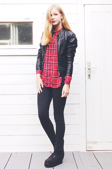 Janne B - Oasap Black Creepers, C&A Plaid/Checkered Red Blouse, H&M Black Basic Jeans, Saint Tropez Quilted Black Jacket - Disconnected