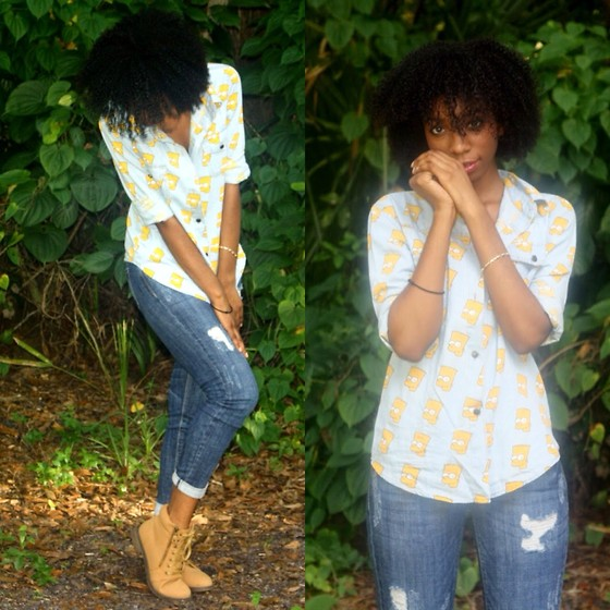 Alexa C - Sheinside Simpsons Button Up, Distressed Denim, Boots - BB Don't Cry (It's Gon Be Ok)