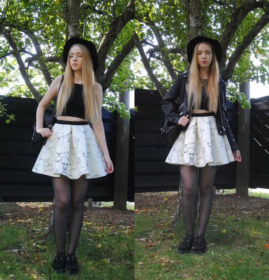Noora V - H&M Skirt, H&M Crop Top, Saints & Mortals Leather Jacket, H&M Hat, Underground Creepers, Mint & Berry Leather Backpack - You´re like the wind in my hair
