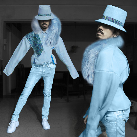 Andre Judd - Powder Blue Wool Hat With Snakeskin, Anthony Ramirez Couture Kimono Linen Wrap With Snakeskin, Powder Blue Jeans, Pastel Blue Laceups, Blue Fur Wrap - BLUE ICE