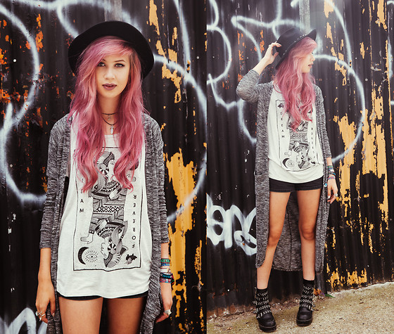 Amy Valentine - H&M Fedora, Chxrmed Choker, Primark Grey Marl Midi Cardigan, Glamour Kills The Flip Side Tee, New Look Black Denim Shorts, Missguided Studded Black Boots - GLAMOUR KILLS