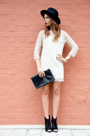 Caterina Catalano - Stella Mccartney Clutch, Zara Shoes, Mango White Lace Dress, Zara Black Hat, Michael Kors Watch, H&M Charm Bracelet, H&M Fingerrings - Black'n White