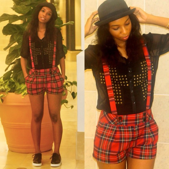 Alexa C - Forever 21 Plaid Shorts, Cross Button Up, Forever 21 Bowler Hat, Forever 21 Creepers - Best Mistake