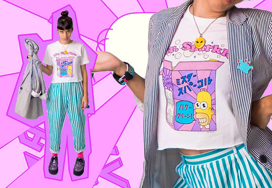 Daniela Nutz - Zara Striped Blazer, Thrift Glow In The Dark Glitter Alien, Uniqlo Mr. Sparkle Simpson Tee, Thrift High Waist Stripe, T.U.K Glitter Sequin Platform Creepers - MR. SPARKLE