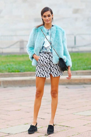 Gizele Oliveira - The Ragged Priest T Shirt, Zara Jacket, Topshop Skirt - Blue fur at MFW