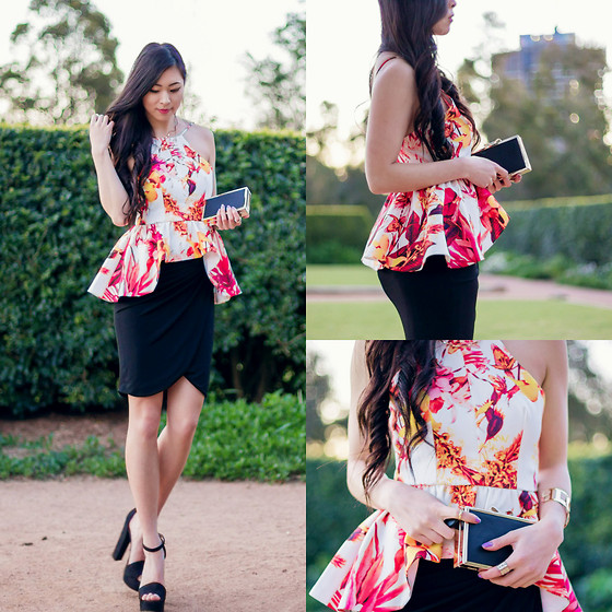 Isabel Z - Two White Tees Peplum Top, Forever 21 Wrap Skirt, Chinese Laundry Platform Shoes - Citrus Night