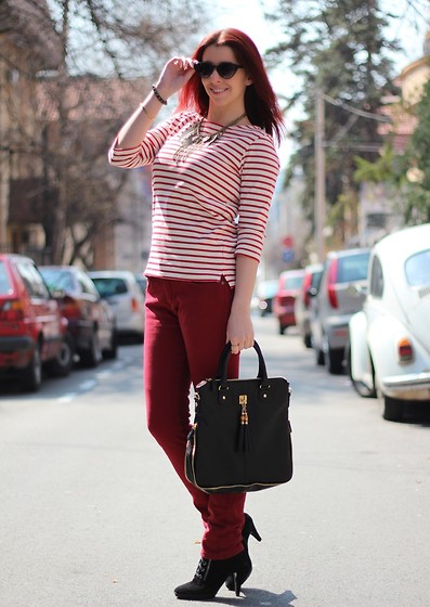 Milica Venoma - Nowistyle Blouse, Nowistyle Bag, Bata Boots, Fernlice Trousers, Gofavor Necklace, Aldo Sunglasses - Burgundy + 2 giveaways
