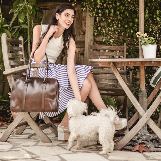 Elle-May Leckenby - Brown Leather Tote, Sheinside Striped Skirt - Tuscan style