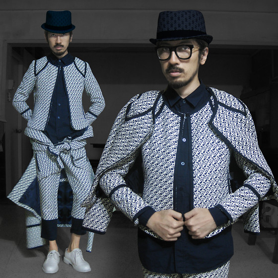 Andre Judd - Patterned Weave Jacket And Trousers, Patterned Hand Weave Boater Hat, White Laceups - NORMCORE