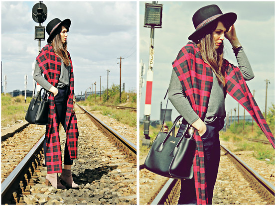 Daniela Macsim - Custom Made Scarf, C&A Hat, Zara Turtleneck, Zara Pants - Tartan, From Scotland with love