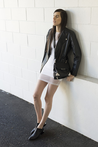 Melissa Araujo - H&M Leather Jacket, American Apparel Mesh Dress, Alexander Wang Marion Bag, Alexander Wang Kori Boots - Leather & Mesh