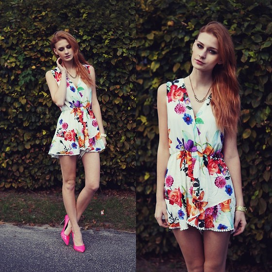 Katarzyna KOKA Konderak - The Wildflower Shop Jumpsuit, Heels, Hair - Floral jumpsuit.