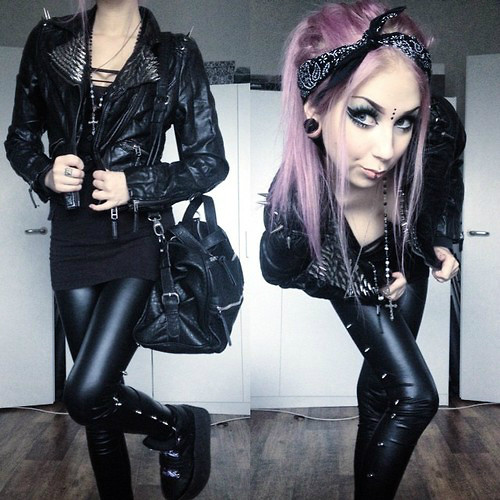 Rosa Pekkanen - Diy Leather Jacket, Bag, Diy Leggings, Platforms - BLACK 'N' SPIKES
