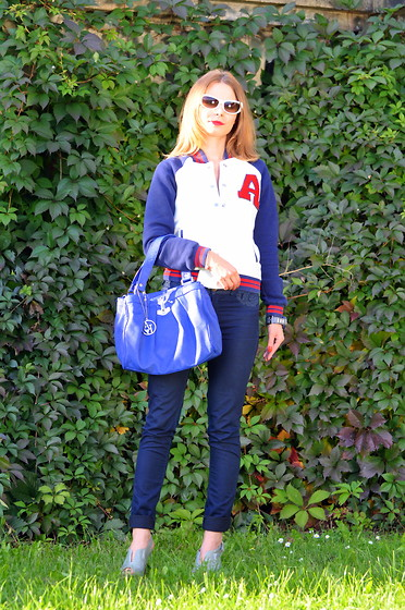 Katarina & Kristina S - Giorgio Armani Bag, River Island Shoes, Marc By Jacobs Sunglesses, Bershka Jacket - SPORTY OUTFIT