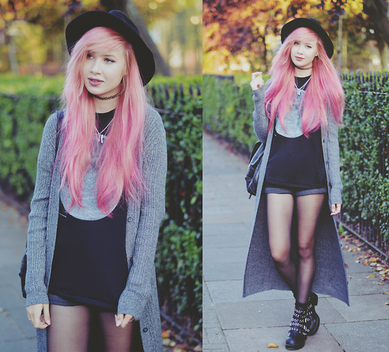 Amy Valentine - H&M Black Fedora, Asos Grey Longline Cardigan, Stylemoi Moon Print Tee, New Look Black Mom Shorts, Missguided Chunky Studded Boots - HELLO OCTOBER