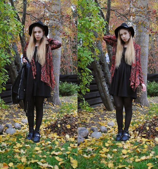 Noora V - Urban Outfitters Cardigan, Jeffrey Campbell Coltrane, H&M Hat, Mango Leather Jacket, Vila Dress - Falling