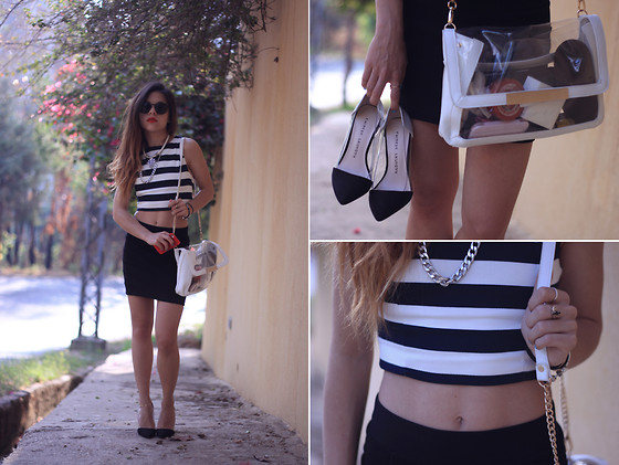 Maria Cheble - Stradivarius Striped Crop Top, Chinese Laundry Pumps, Stradivarius Transparent Bag - Strips to rock your day