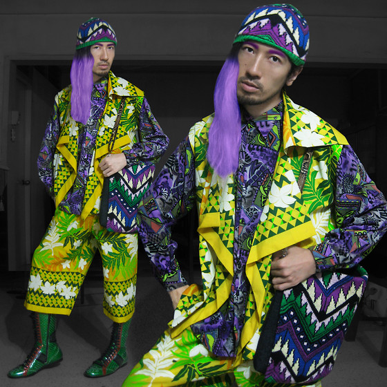 Andre Judd - Tribal Print Button Down Shirt, H. Custodio Greco Jungle Print Vest And Culottes, Intarsia Knit Beanie And Matching Bag, Miu Patent Hybrid Brogue Boxing Boot - PURPLE JUNGLE