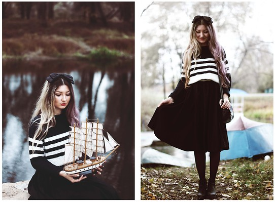 ♡Anita Kurkach♡ - Dress, Bow, Asos Sweater, Asos Shoes, Sheinside Bag - Moon River..