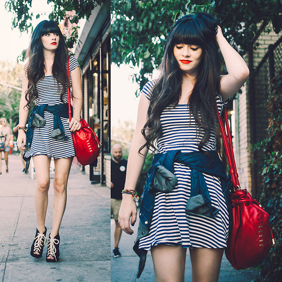 Rachel-Marie Iwanyszyn - Facine Bag, Opening Ceremony Shoes, Striped Dress, All Saints Denim Shirt - WALKING IN THE BURG.