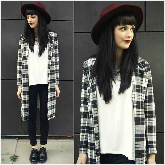 Kayleigh B - In Love With Fashion Black And White Tartan Jacket, Black Five Clothing White Tshirt - Peace Is Broken