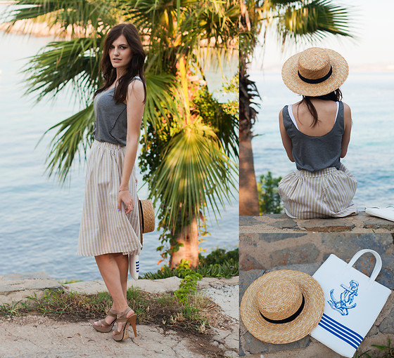 Viktoriya Sener - Mango Tee, Wholesale7 Skirt, Desa Sandals, H&M Hat, Frontrowshop Bag - UNDER SUMMER SKY