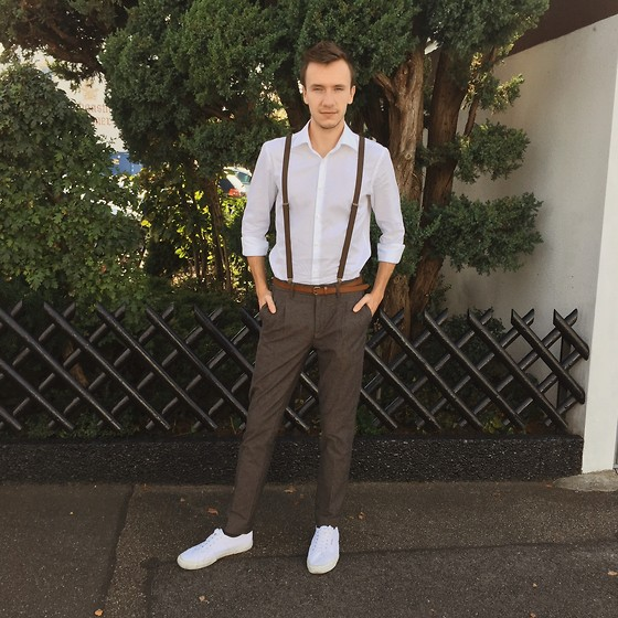 Sven A - Hugo Boss White Shirt Slim Fit, Scotch & Soda Pleated Chino Pants, Superga Cotu Classic, H&M Suspenders - Vintage Love