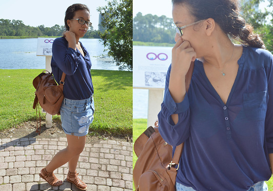 Nada Qamber - Forever 21 Cut Out Denim Shorts, H&M Navy Blue Shirt, Forever 21 Brown/Nude Sandals - Earthy Blues