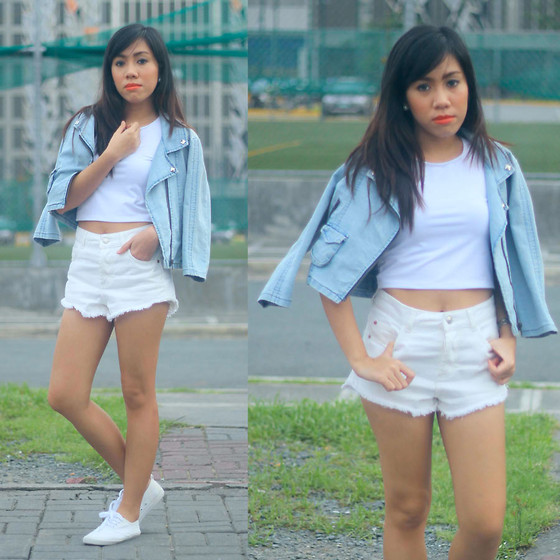 Shayne B - Topshop High Waist Shorts, Thrifted Denim Jacket - White Out
