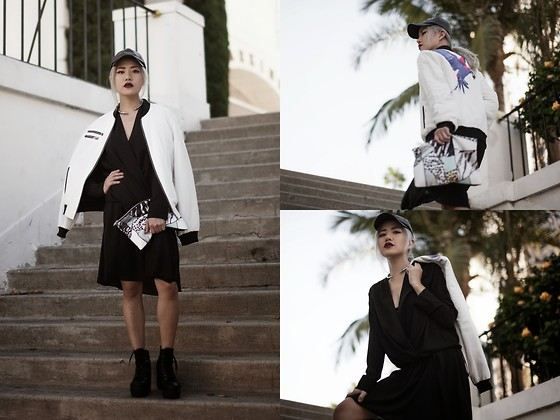 Eugénie Grey - Pink Stitch Parrot Bomber, Pink Stitch Animal Print Clutch, Céline Celine Dress, Dirty Laundry Campus Queen, All Saints Nevena Tip Necklace, Faux Leather Baseball Cap - Like an Animal