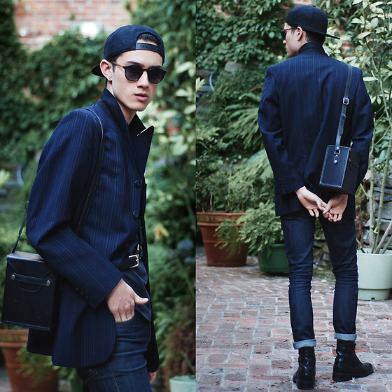 Nigel Lew - H&M Cap, Zana Bayne Leather Harness, Cheap Monday Jeans, Vintage Bag - Surface Temperatures