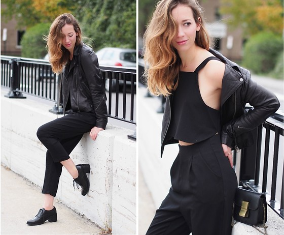 Gabrielle Lacasse - Thefreeisland Jumpsuit, Aritzia Leather Coat, Thefreeisland Box Bag, Jeffrey Campbell Loafers - All black