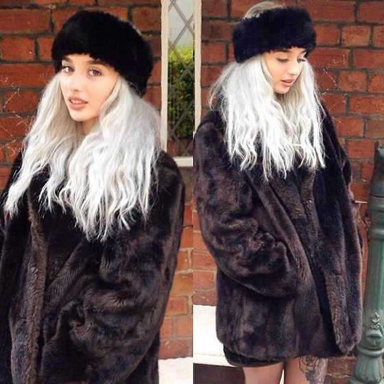 Pixie Gibbons - Ebay Faux Fur Head Band, Thrifted Brown Faux Fur Coat, Thrifted Dress - Thrifting Queen